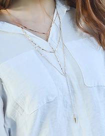 Fashion Gold Color Rivet Pendant Decorated Multi-layer Necklace