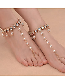 Exaggerated Gold Color Pearls&diamond Decorated Simple Anklet (1pc)