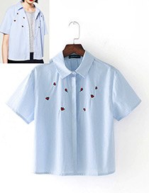 Fashion Blue Embroidery Petals Pattern Decorated Short Sleeves Shirt