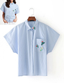 Fashion Blue Cactus Pattern Decorated Short Sleeves Shirt