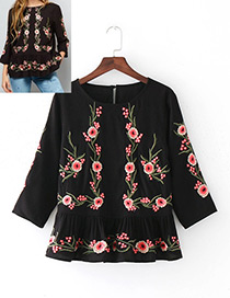 Fashion Black Round Neckline Design Three-quarter Sleeves Shirt