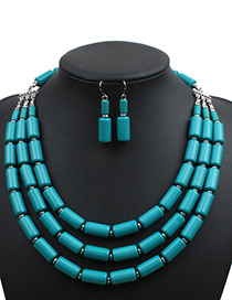 Fashion Dark Blue Cylindrical Shape Decorated Pure Color Jewelry Sets