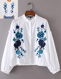 Trendy White Embroidery Flower Decorated Long Sleeves Shirt