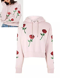 Trendy Pink Embroidery Pattern Decorated Long Sleeves Hoodie
