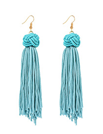 Vintage Blue Long Tassel Decorated Pure Color Earrings