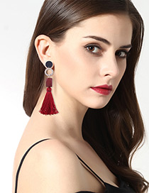 Bohemia Red Tassel Decorated Earrings