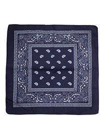 Bohemia Navy Color-matching Decorated Tassel Sqaure Scarf