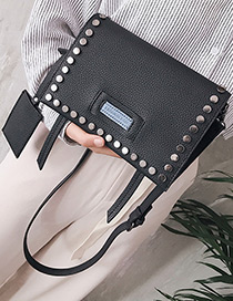 Fashion Black Rivet Decorated Shoulder Bag (2pcs)