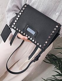 Fashion Black Rivet Decorated Shoulder Bag (2pcs)