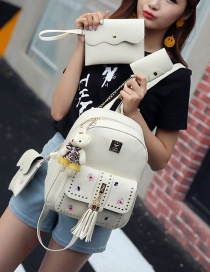 Fashion Beige Tassel&rivet Decorated Pure Color Backpack (2pcs)