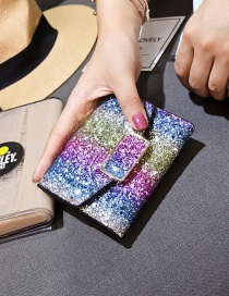 Fashion Multi-color Sequins Decorated Square Shape Purse