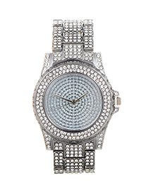 Fashion Silver Color Diamond Decorated Round Dial Design Watch