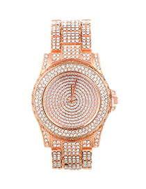 Fashion Rose Gold Diamond Decorated Round Dial Design Watch