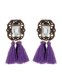 Fashion Purple Square Shape Diamond Decorated Tassel Earrings