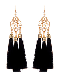 Fashion Black Long Tassel Decorated Hollow Out Flower Design Earrings
