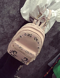 Trendy Pink Embroidery Flower Decorated Simple Backpack