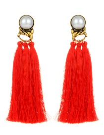 Fashion Red Pearls Decorated Long Tassel Earrings