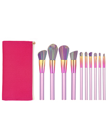 Fashion Pink Oblique Shape Design Simple Cosmetic Brush(10pcs With Bag)