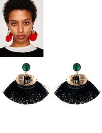 Retro Dark Green Fan Shape Decorated Earrings