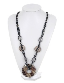 Fashion Black Round Shape Decorated Multilayer Necklace