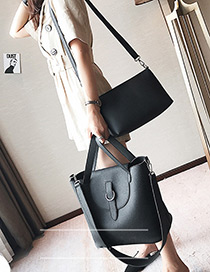 Elegant Black Pure Color Decorated Bag (large) (2pcs)
