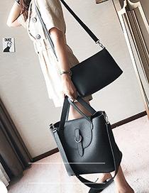 Elegant Black Pure Color Decorated Bag (large) (2pcs)