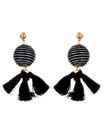 Vintage Black Tassel Decorated Round Earrings