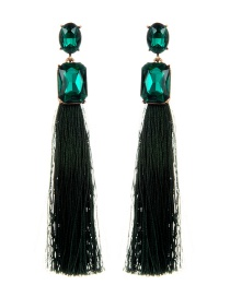 Elegant Green Square Shape Decorated Tassel Earrings