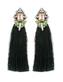 Elegant Green Square Shape Diamond Decorated Tassel Earrings