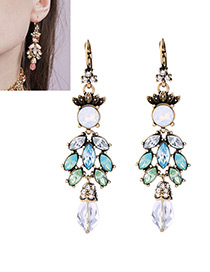 Elegant Multi-color Oval Shape Diamond Decorated Long Earrings