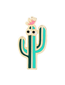 Personality Green Cactus Shape Decorated Brooch