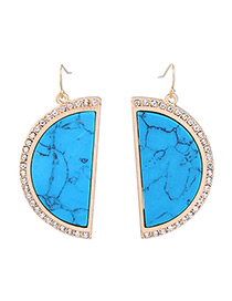 Vintage Blue Semicircle Decorated Earrings