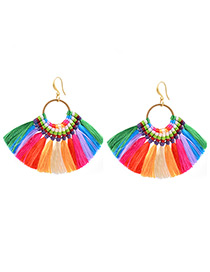 Bohemia Milti-color Color-matching Decorated Tassel Earrings