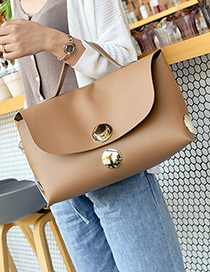 Fashion Khaki Round Shape Decorated Bag