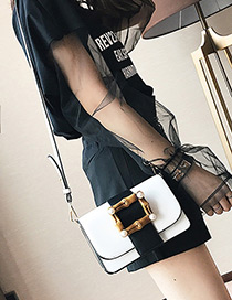 Fashion White Square Shape Decorated Bag