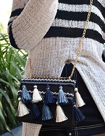 Bohemia Black Tassel Decorated Shoulder Bag