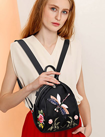 Elegant Black Dragonfly Shape Decorated Backpack