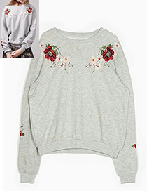 Fashion Gray Flower Shape Decorated Blouse