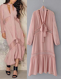 Elegant Pink Pure Color Decorated Long Dress