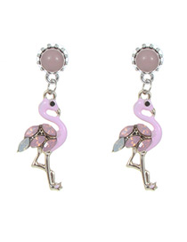 Fashion Pink Flamingo Shape Decorated Earrings