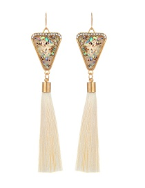 Retro Beige Triangle Decorated Tassel Earrings
