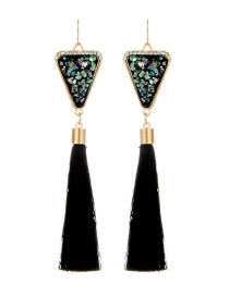 Retro Black Triangle Decorated Tassel Earrings