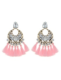 Elegant Pink Hollow Out Decorated Tassel Earrings