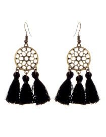 Bohemia Black Hollow Out Decorated Tassel Earrings