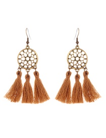 Bohemia Khaki Hollow Out Decorated Tassel Earrings