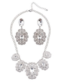Luxury Silver Color Round Shape Diamond Decorated Jewelry Sets