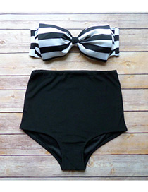Lovely Black+white Bowknot Shape Decorated Swimwear