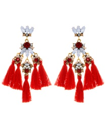 Elegant Red Oval Shape Decorated Tassel Earrings
