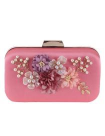 Elegant Dark Pink Flower Shape Decorated Hand Bag