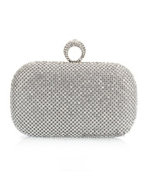 Luxury Silver Color Round Shape Decorated Hand Bag